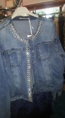 jeans vest stretch met strass en parels